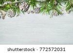 christmas wooden rustic... | Shutterstock . vector #772572031