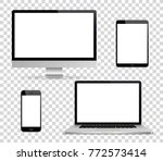realistic set of monitor ... | Shutterstock .eps vector #772573414