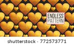 gold polygonal shape  heart and ... | Shutterstock .eps vector #772573771