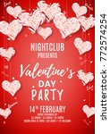 happy valentine's day party... | Shutterstock .eps vector #772574254