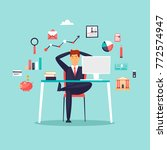 happy businessman sitting at... | Shutterstock .eps vector #772574947
