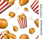 seamless pattern fried chicken... | Shutterstock .eps vector #772577245