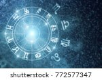 creative glowing astrologic... | Shutterstock . vector #772577347