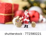 miniature santa claus  over... | Shutterstock . vector #772580221