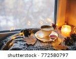cozy winter or autumn morning... | Shutterstock . vector #772580797
