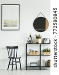 classic black chair and shelf... | Shutterstock . vector #772580845
