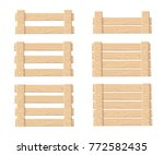 set of wooden box for... | Shutterstock .eps vector #772582435