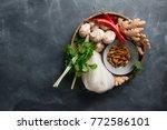 ingredients for spicy asian...   Shutterstock . vector #772586101
