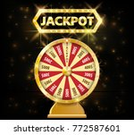gold realistic fortune wheel 3d ... | Shutterstock .eps vector #772587601