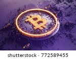 gold symbol bitcoin consisting... | Shutterstock . vector #772589455
