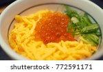 japanese food  salman egg with...   Shutterstock . vector #772591171