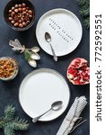 christmas table setting with... | Shutterstock . vector #772592551