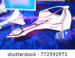 Small photo of Space Shuttle Side View on Blue Background.