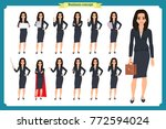 set of young businesswoman... | Shutterstock .eps vector #772594024