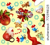 christmas and new year pattern... | Shutterstock .eps vector #772598125