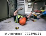 accident at work of electrician ... | Shutterstock . vector #772598191