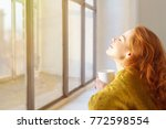 blissful young woman enjoying...   Shutterstock . vector #772598554