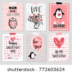 valentine s day card set   hand ... | Shutterstock .eps vector #772603624