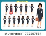 set of young businesswoman... | Shutterstock .eps vector #772607584