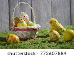 easter background on the grass | Shutterstock . vector #772607884