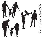 happy family silhouette  mom ... | Shutterstock .eps vector #772609747