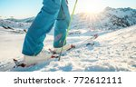adult athlete skiing in alpes... | Shutterstock . vector #772612111