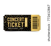 golden vector concert ticket.... | Shutterstock .eps vector #772612867