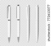 Set of white realistic pen on transparent background.Vector elements of corporate identity, branding stationery templates. Mockup ready for design