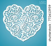 lacy heart with carved openwork ... | Shutterstock .eps vector #772613959