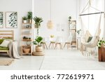 white flat interior with leaves ... | Shutterstock . vector #772619971