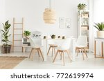 big wicker lampshade hanging... | Shutterstock . vector #772619974