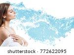 woman in bathrobe in water... | Shutterstock . vector #772622095