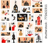 christmas advent calendar. a... | Shutterstock .eps vector #772622311