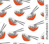 asian food  ramen noodle bowl.... | Shutterstock .eps vector #772622335