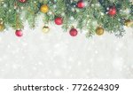 christmas background. selective ... | Shutterstock . vector #772624309