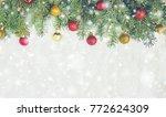 christmas background. selective ... | Shutterstock . vector #772624309