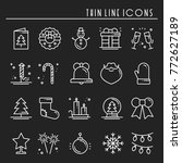 christmas holiday thin line... | Shutterstock .eps vector #772627189