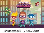 team of super hero kids  funny... | Shutterstock .eps vector #772629085
