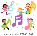 cartoon kids with music notes | Shutterstock .eps vector #772631167