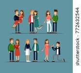 set couples in love. man and... | Shutterstock .eps vector #772632544