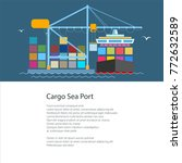 poster with cargo container... | Shutterstock .eps vector #772632589