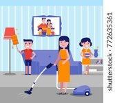 caucasian white family having... | Shutterstock .eps vector #772635361