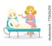 caucasian white cosmetologist... | Shutterstock .eps vector #772636255