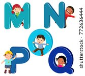 Cartoon Kids With Mnopq Letters
