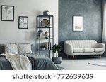 beige sofa against concrete... | Shutterstock . vector #772639639