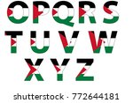 palestinian flag font isolated... | Shutterstock . vector #772644181