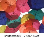 colurful of umbrellas background | Shutterstock . vector #772644625
