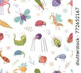 seamless pattern of beetles and ... | Shutterstock .eps vector #772652167