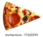 cut off slice pizza isolated on ... | Shutterstock . vector #77265949
