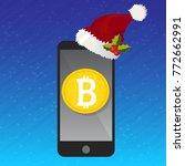 mobile phone bitcoin christmas... | Shutterstock .eps vector #772662991